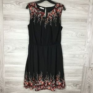 Maurices Black Floral Keyhole Sleeveless Dress